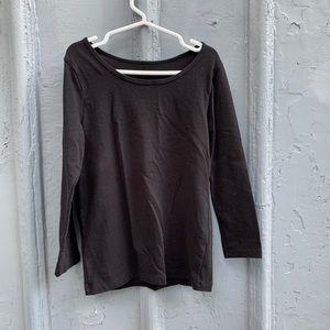 Girls Uniqlo black soft cotton long sleeve tee
